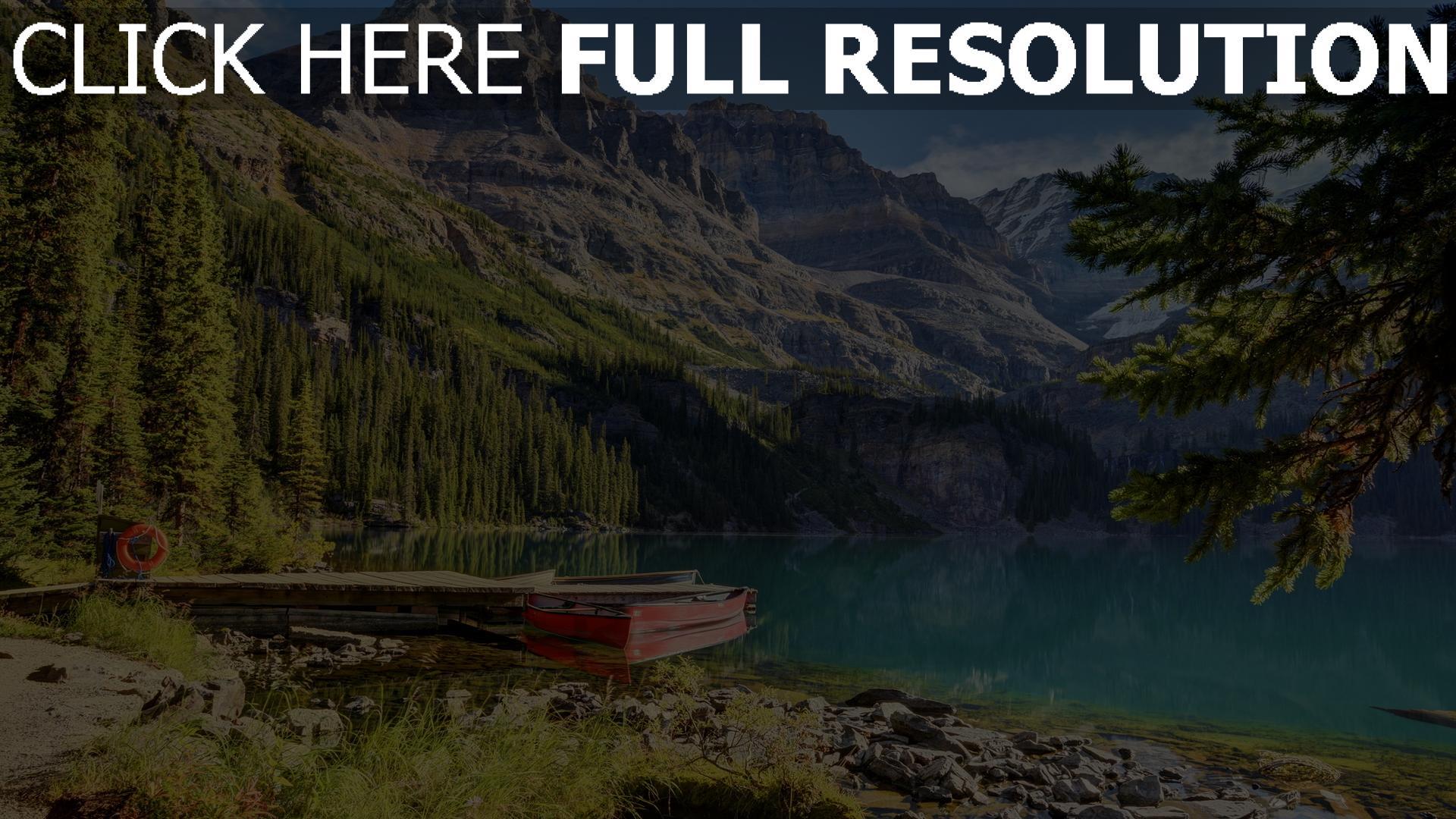 hd hintergrundbilder ufer boot see berge tannenwald 1920x1080