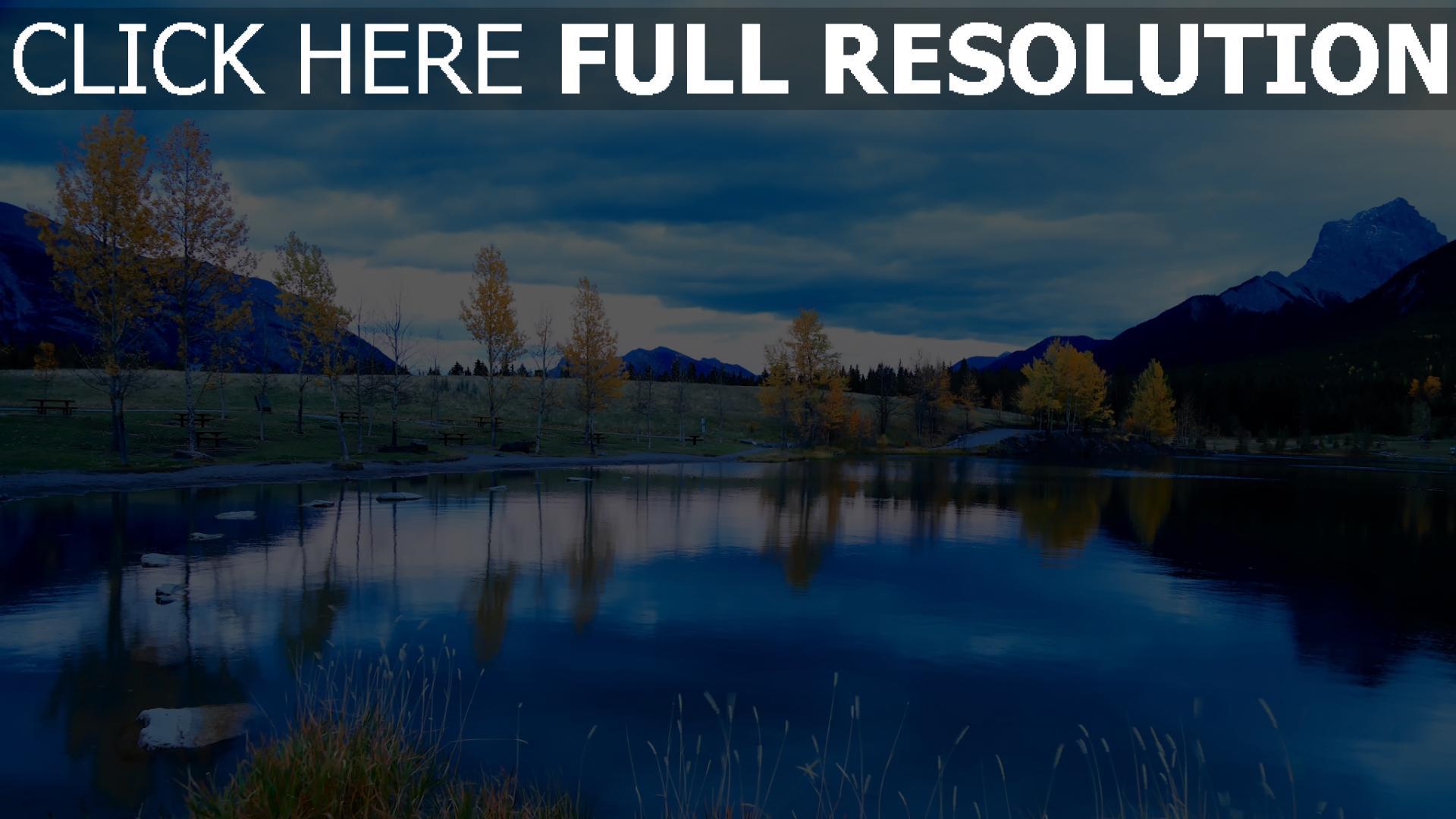 hd hintergrundbilder herbst bäume see strand himmel reflexion berge 1920x1080