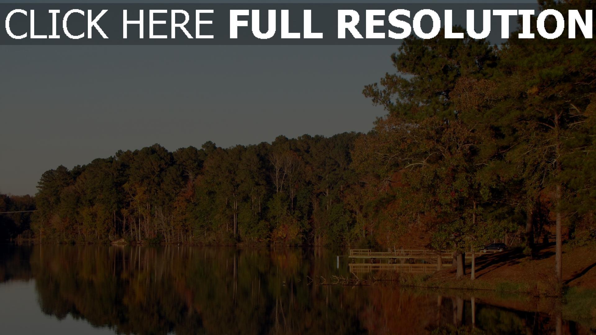 hd hintergrundbilder wald bäume herbst reflexion see 1920x1080
