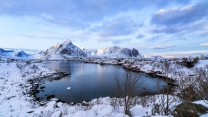 see schnee winter berge küste norwegen