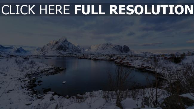 hd hintergrundbilder see schnee winter berge küste norwegen