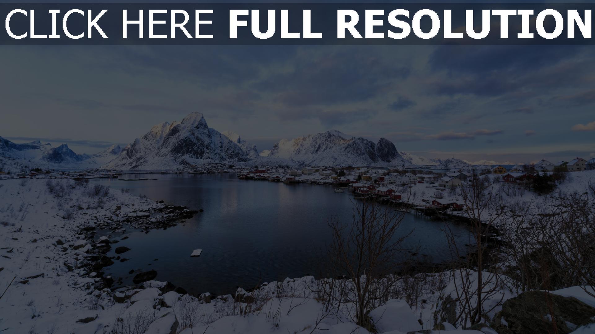 hd hintergrundbilder see schnee winter berge küste norwegen 1920x1080