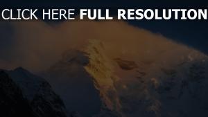schnee berge nebel felsen wind