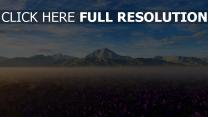 feld krokusse blühen nebel berge himmel frühling