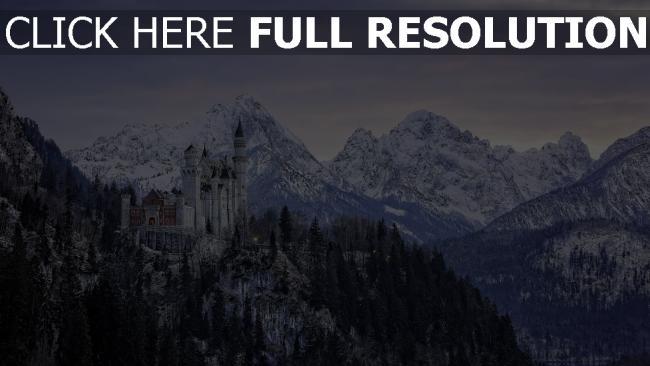 hd hintergrundbilder berge schnee schloss felsen bayern hoch