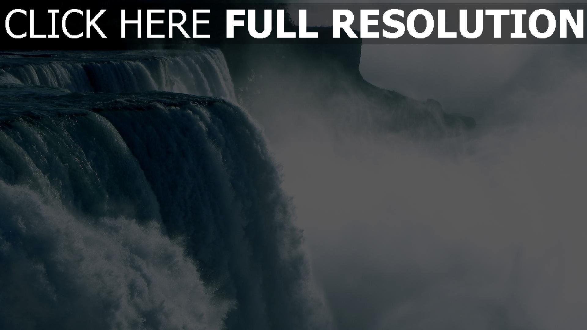 hd hintergrundbilder wasserfall wasser fließt felsen nebel 1920x1080