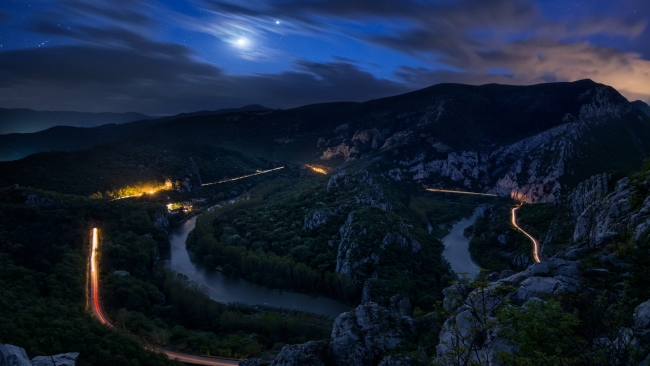 hd hintergrundbilder felsen nacht autobahn fluss himmel sterne