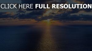 sonnenuntergang sonne horizont strahlen meer wolken