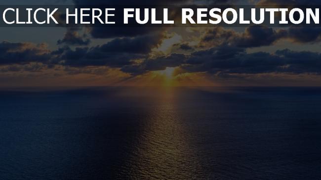hd hintergrundbilder sonnenuntergang sonne horizont strahlen meer wolken