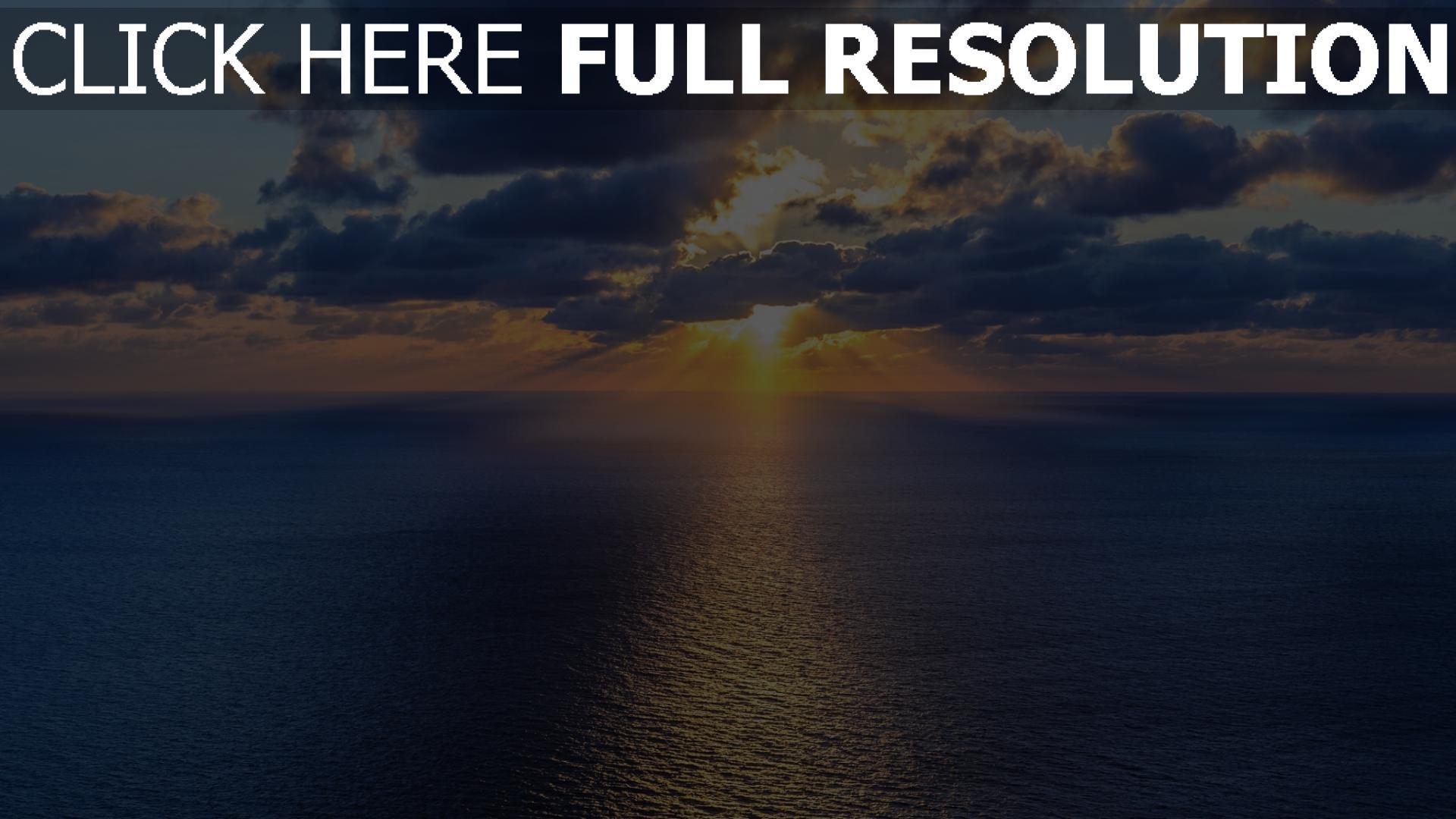 hd hintergrundbilder sonnenuntergang sonne horizont strahlen meer wolken 1920x1080