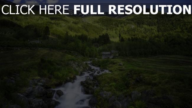 hd hintergrundbilder wald fluss fließende haus gebirge norwegen
