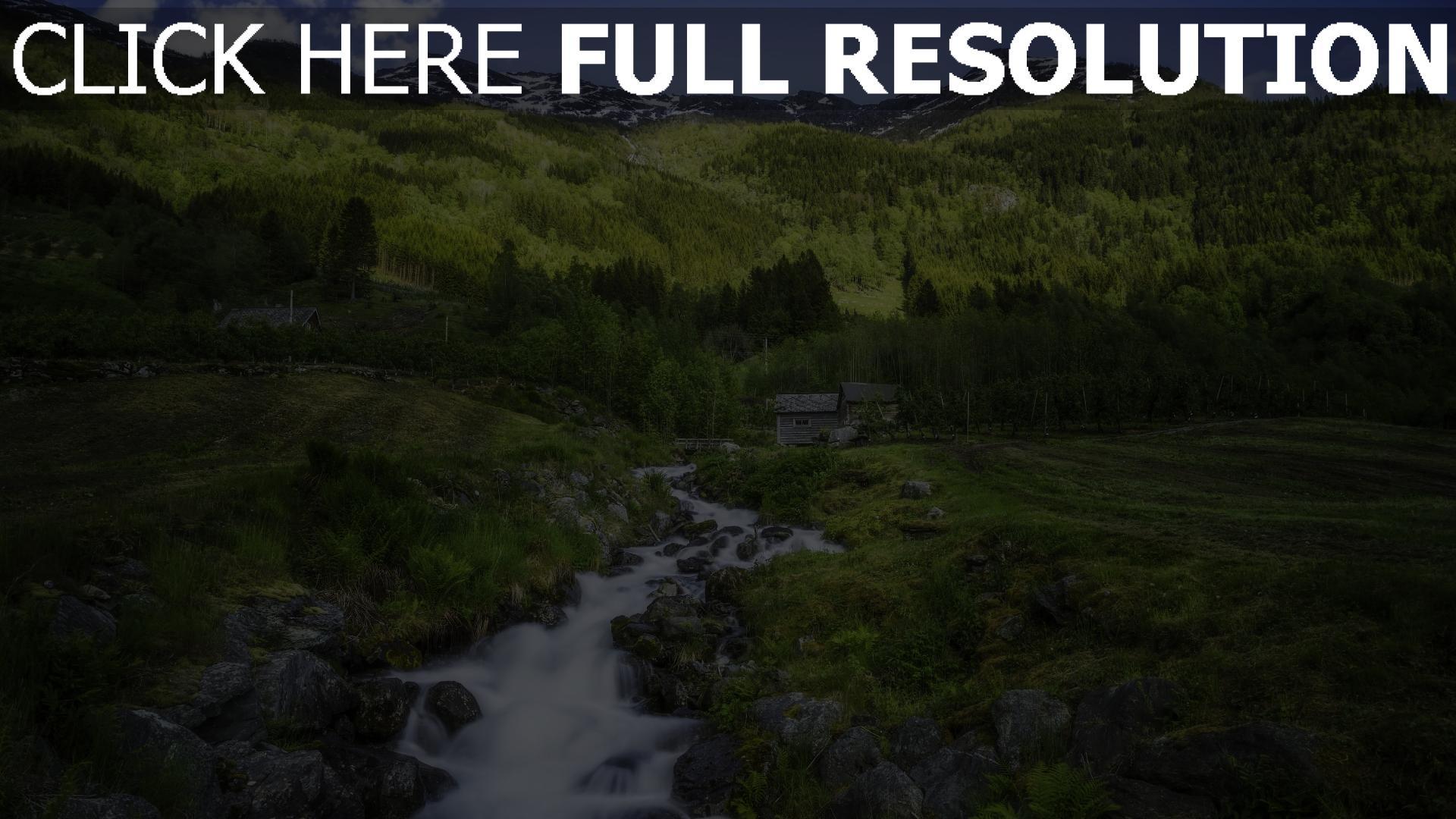 hd hintergrundbilder wald fluss fließende haus gebirge norwegen 1920x1080