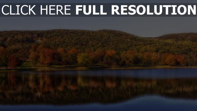 hd hintergrundbilder see ufer bäume herbst wasser reflexion