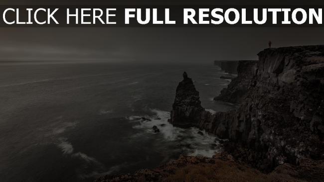 hd hintergrundbilder horizont felsen meer wellen riffe grauen wolken