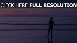 strand wellen meer himmel horizont mädchen abend