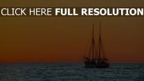 meer schiff sonnenuntergang himmel orange licht