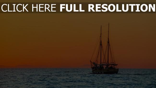 hd hintergrundbilder meer schiff sonnenuntergang himmel orange licht