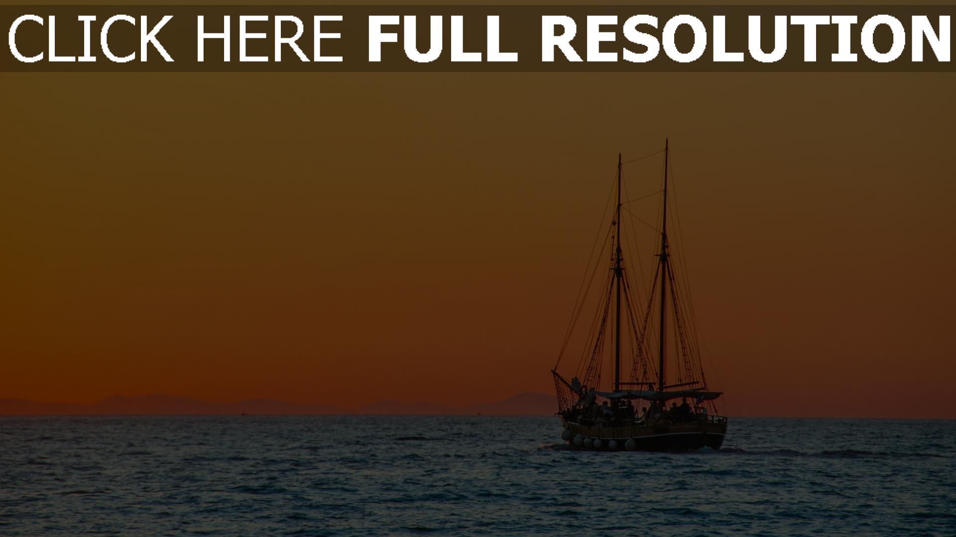 hd hintergrundbilder meer schiff sonnenuntergang himmel orange licht 1920x1080
