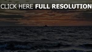 meer sonne wolken purpurner glut schiff wellen