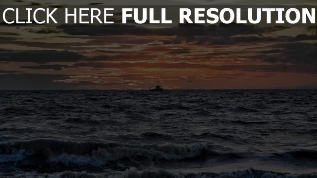 hd hintergrundbilder meer sonne wolken purpurner glut schiff wellen