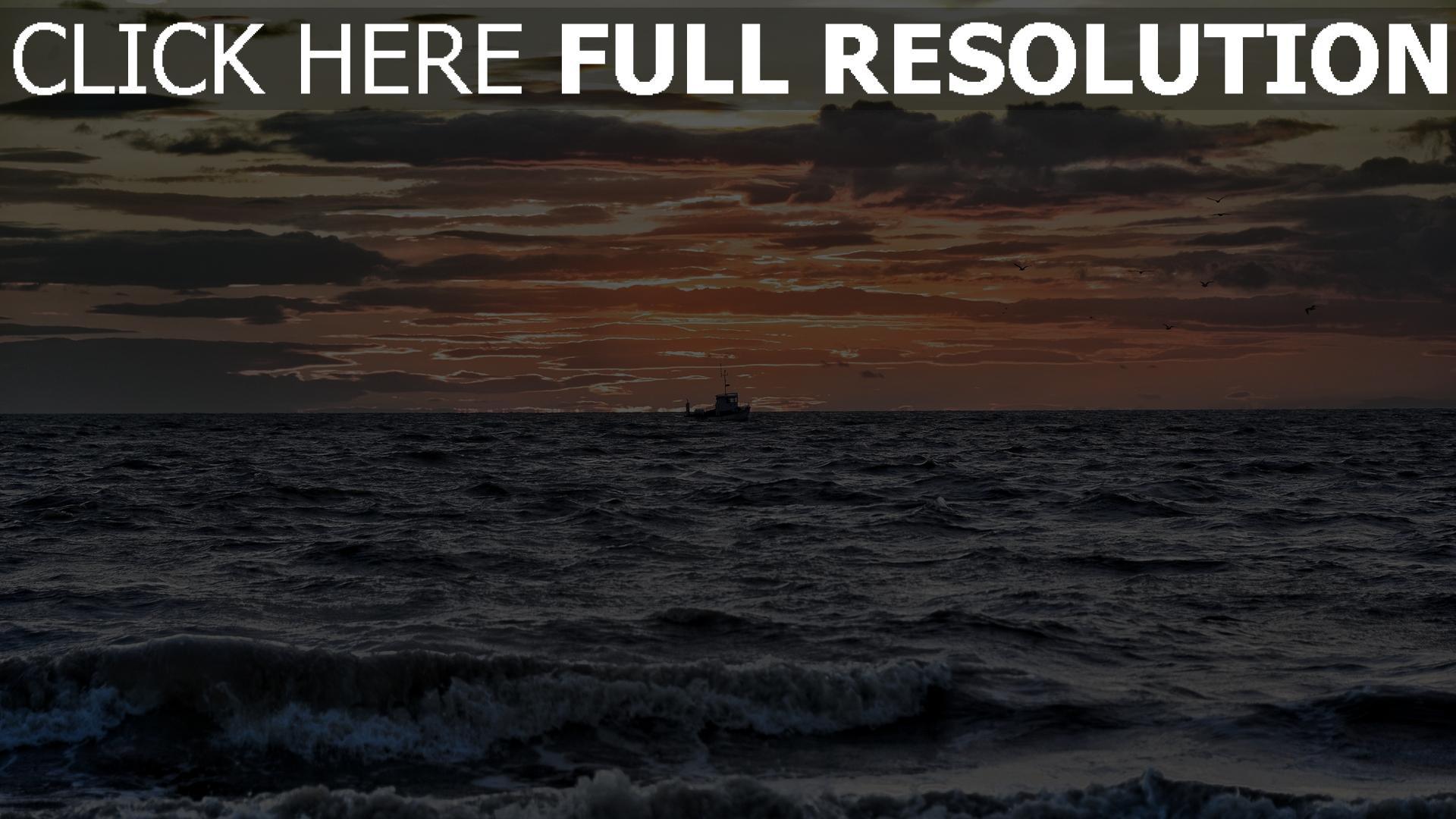 hd hintergrundbilder meer sonne wolken purpurner glut schiff wellen 1920x1080