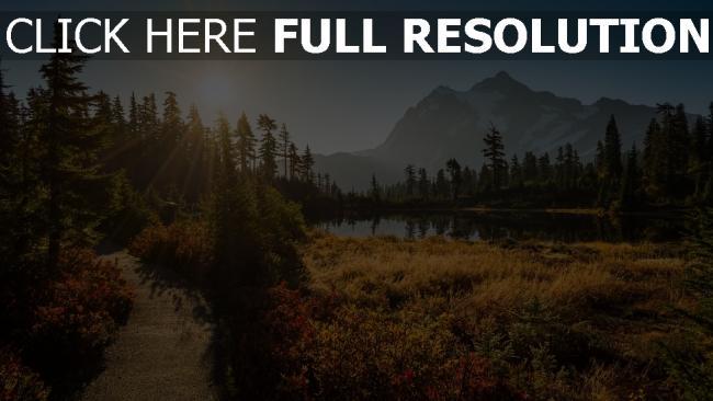 hd hintergrundbilder wald tanne bäume see sonne strahlen berge shuksan