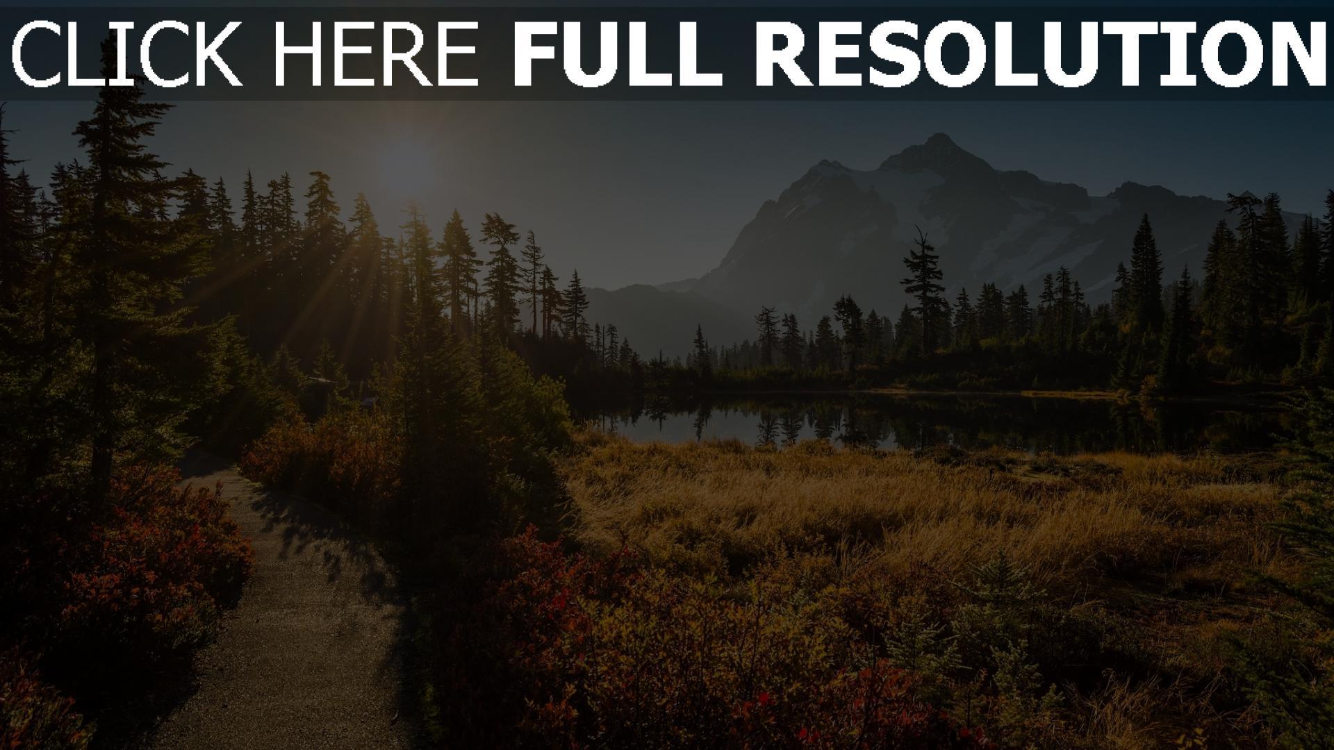 hd hintergrundbilder wald tanne bäume see sonne strahlen berge shuksan 1920x1080