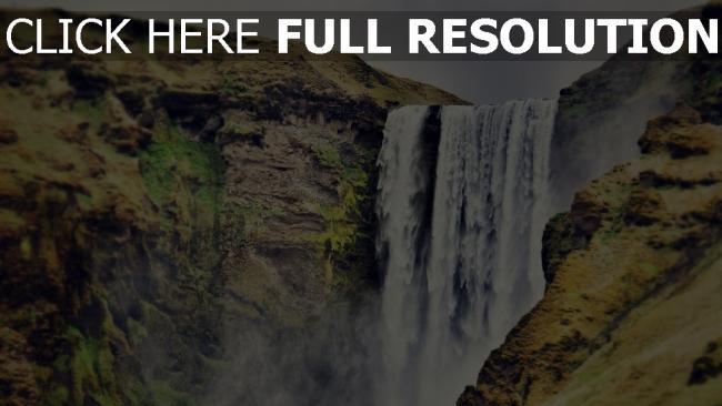 hd hintergrundbilder wasserfall gebirge fluss felsen schlucht dunst