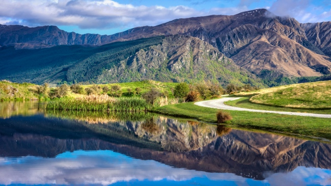 hd hintergrundbilder see berg reflexion wasser strand strasse