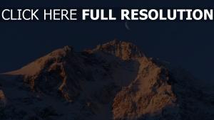 mond himmel berge schnee felsen