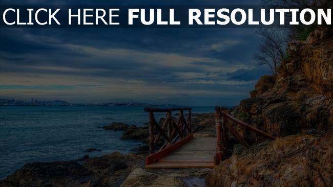 hd hintergrundbilder bucht strand steine berge brücke