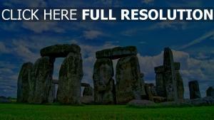 steine gras himmel schottland stonehenge
