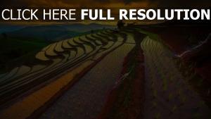 reisfelder berge himmel sonnenuntergang thailand