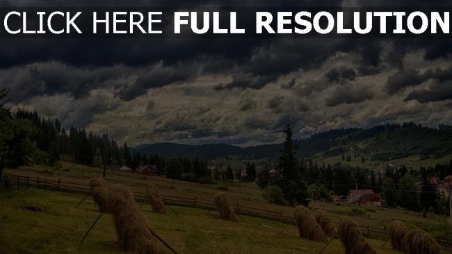 hd hintergrundbilder berge heu essen karpaten wolken himmel