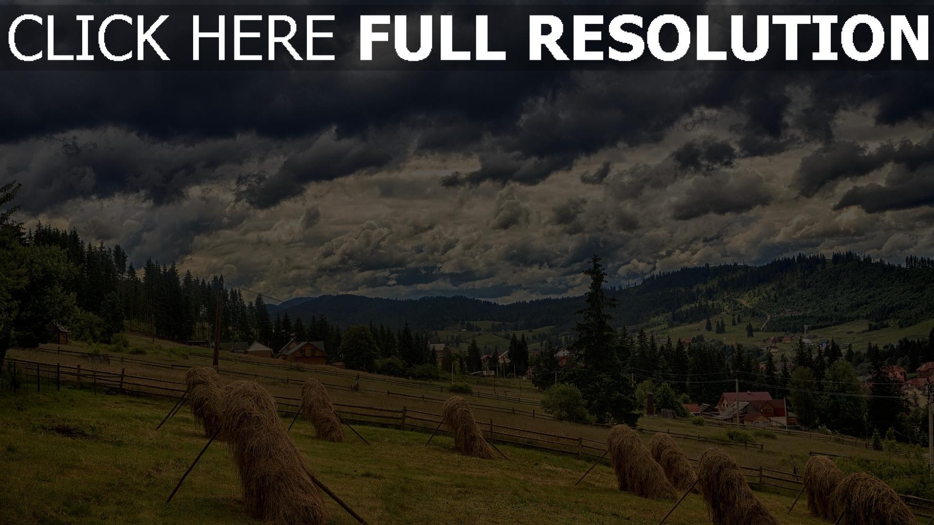 hd hintergrundbilder berge heu essen karpaten wolken himmel 1920x1080
