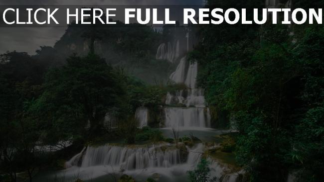 hd hintergrundbilder wasserdüsen wasserfälle berge bäume thailand