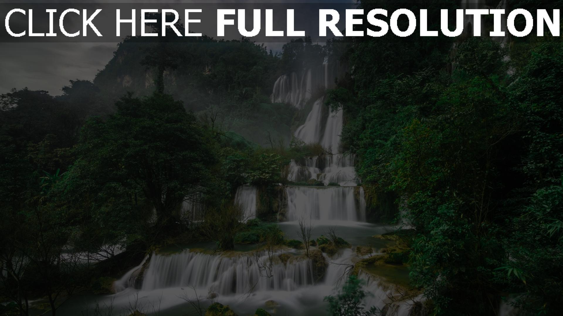 hd hintergrundbilder wasserdüsen wasserfälle berge bäume thailand 1920x1080