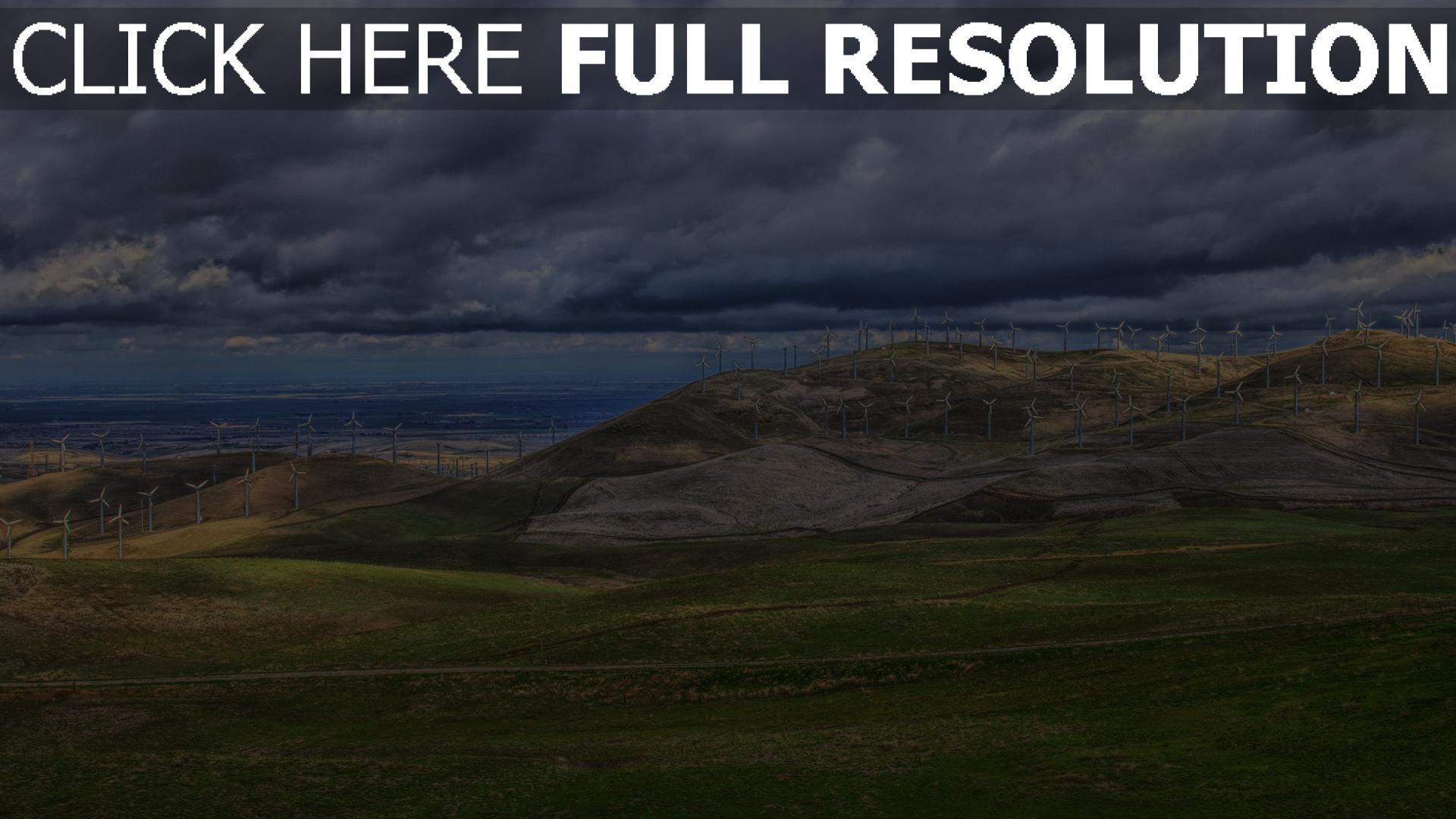 hd hintergrundbilder hügel bucht himmel windmühlen meer 1920x1080