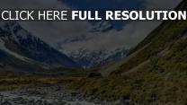 berge winter schlucht aoraki neuseeland
