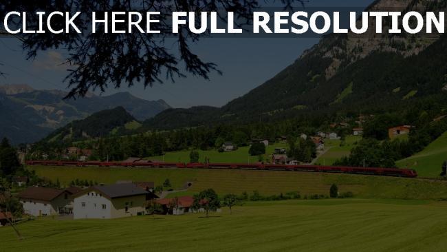 hd hintergrundbilder österreich zug berge gras häuser bäume