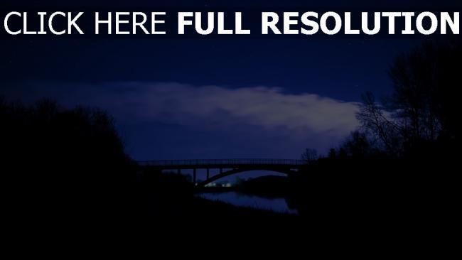 hd hintergrundbilder sterne nacht brücke wolken