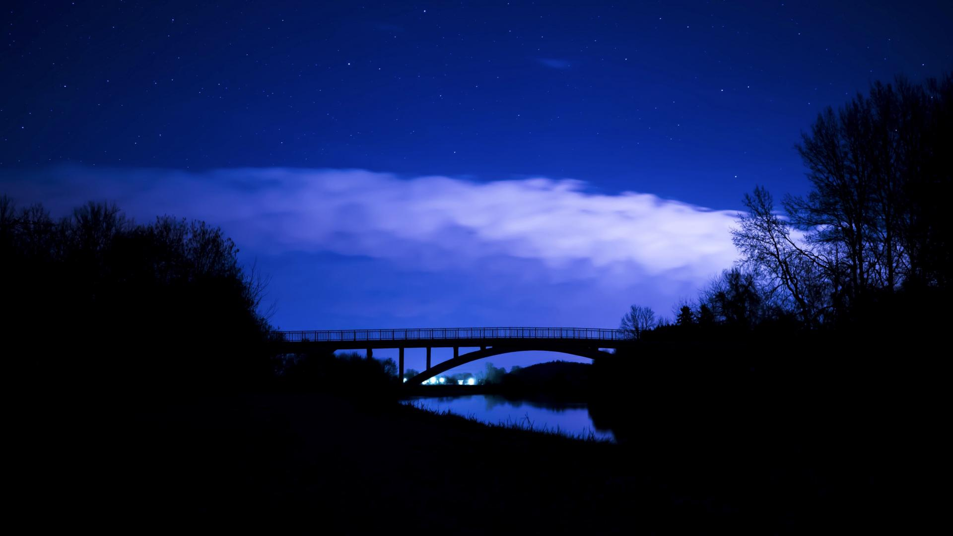 hd hintergrundbilder sterne nacht brücke wolken 1920x1080