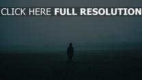einsamkeit feld nebel mann
