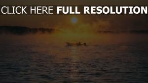 meer nebel boot
