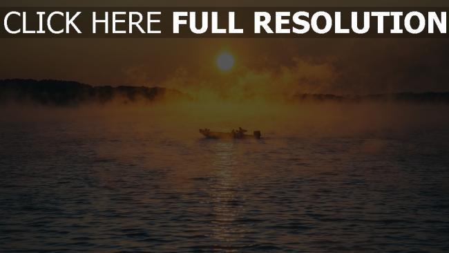 hd hintergrundbilder meer nebel boot
