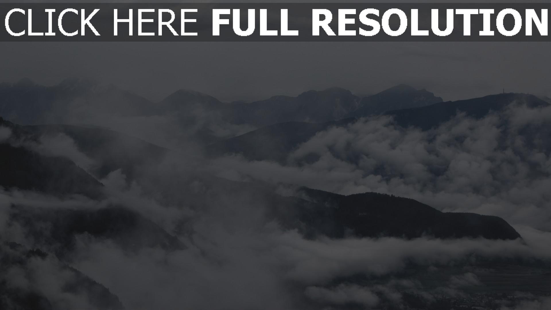 hd hintergrundbilder berge nebel wolken 1920x1080