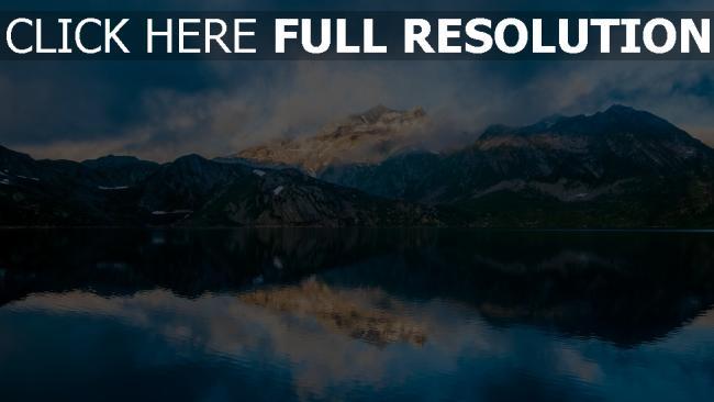 hd hintergrundbilder see berge nebel himmel