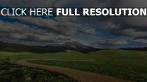feld gras wolken berge