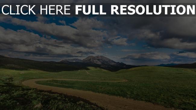 hd hintergrundbilder feld gras wolken berge