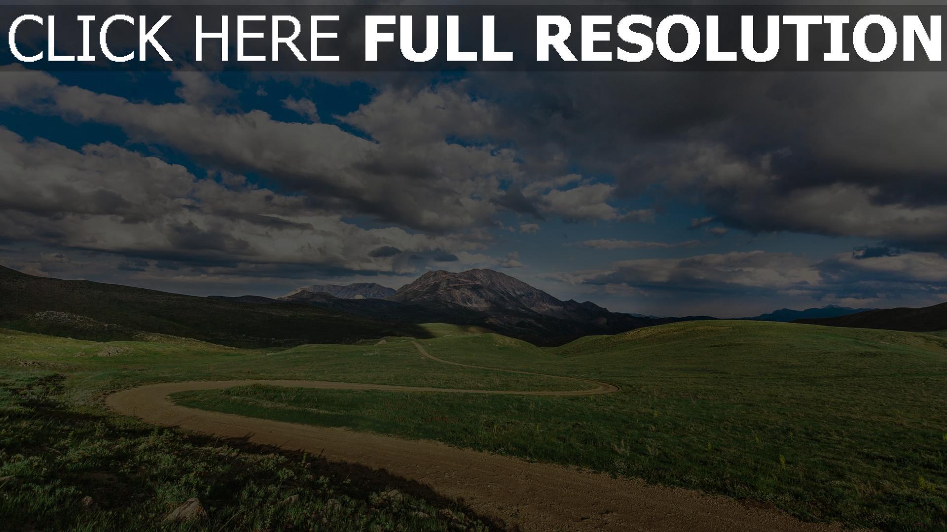 hd hintergrundbilder feld gras wolken berge 1920x1080